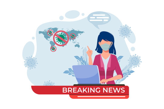 Breaking news about coronavirus spreading Illustration. Presenter tell about virus outbreak in the world. Woman with face mask and laptop. Vector