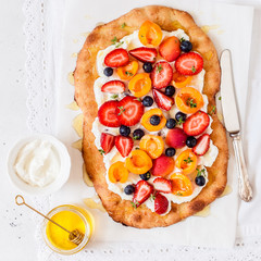 Flatbread with Ricotta, Berries and Apricots