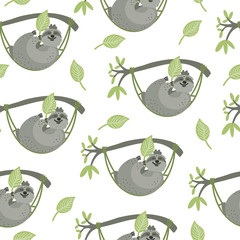 Seamless pattern with cute sloths lying  in hammocks. They have leaves. Vector hand drawn illustration isolated on white background. Great for fabrics, baby clothes, wrapping papers.