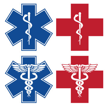 EMT, EMS, Star of Life, Nurse, Doctor Caduceus Medical Services Red and Blue Cross Symbols Isolated Vector Illustration