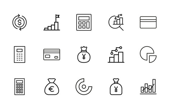 Stroke line icons set of income.