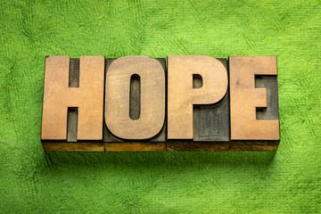 hope word in vintage wood type