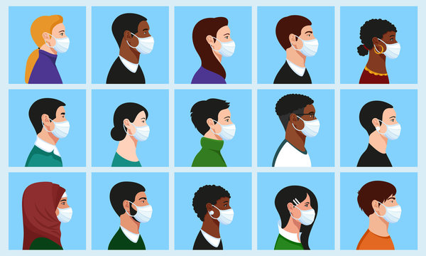 Full Face Under Mask Vector: Stylish beautiful men and women with medical face mask profile portrait avatar set: Asian, African, European, Muslim, American, Mature, Young, Religious.