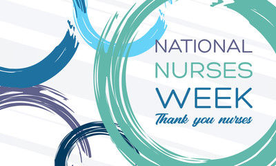 National Nurses Week begins each year on May 6th and ends on May 12th. Medical, healthcare concept. Poster, card, banner, background design.  Fotomurales