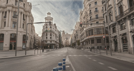 MADRID, SPAIN - 2 APRIL 2020: The city center