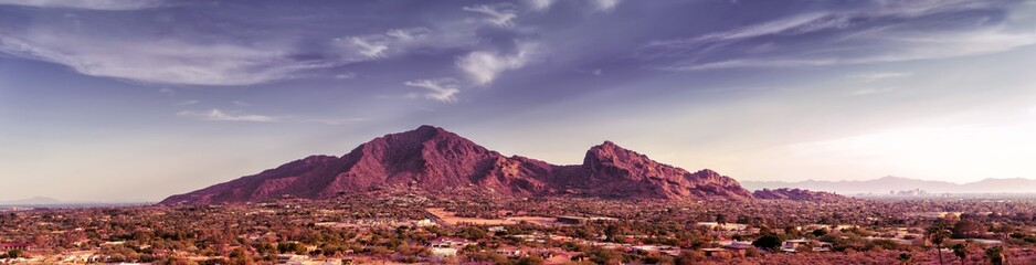 Zelfklevend Fotobehang Arizona Scottsdale, Phoenix Arizona,Large scale extra wide high detail view of the Valley of the Sun with Camelback Mountain as focal point on a warm beautiful sunny Spring afternoon.
