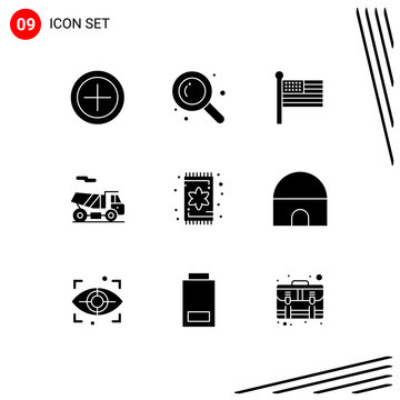 Modern Set of 9 Solid Glyphs Pictograph of building, interior, united, furniture, transport