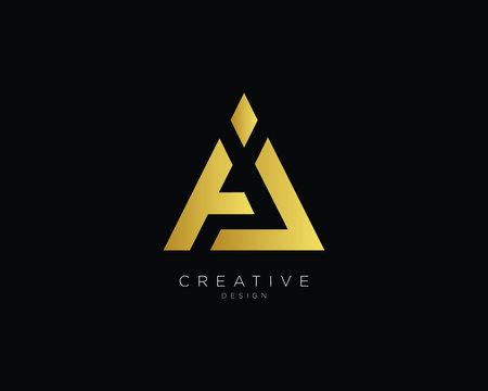 Letter AJ Logo Design, Creative Minimal AJ  Monogram In Gold Color