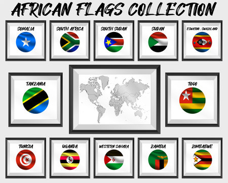 Set of realistic official world national flags, waving edition. isolated on map background. Objects, icons and symbol for logo, design. African Collection. Somalia, Togo, Sudan, Zambia, Zimbabwe