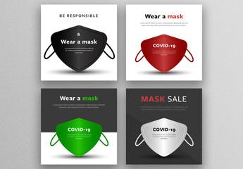Protective Facial Mask Social Media Post Layouts