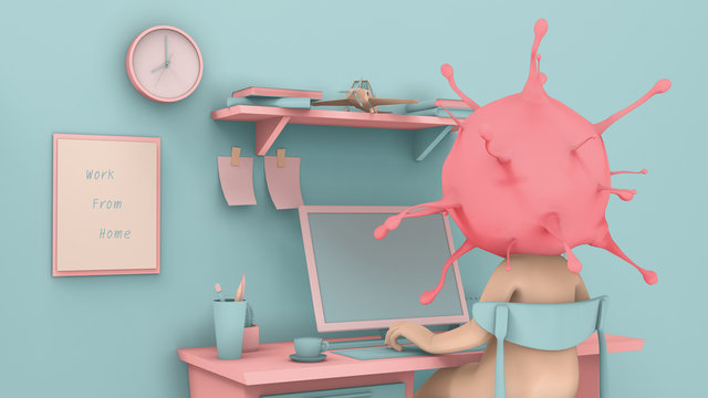 Coronavirus man working from home in workplace pastel color tone with 3d rendering.