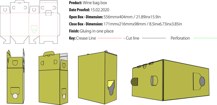 Wine bag box packaging template die cut vector
