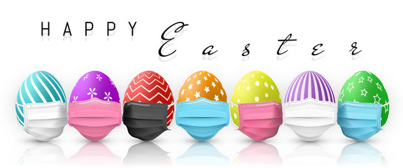 Happy Easter. Color Easter egg in medical face mask on white background. Vector illustration