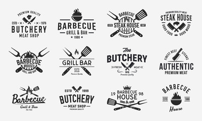 Vintage logo set for Meat Restaurants. Hipster barbecue emblems. Restaurant labels, emblems, logo. Logo template for bbq. steakhouse, butcher, grill bar. Vector illustration