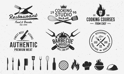 Vintage hipster logo templates and 13 design elements for restaurant business. Butchery, Barbecue, Cooking Class and Restaurant emblems templates. Fork, knife, whisk, cooking icons.Vector illustration