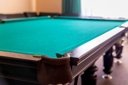 Pit of corner table snooker. Hole on billiard table