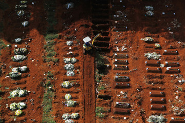 A gravedigger opens new graves with an excavator as the number of dead people rose after the coronavirus disease (COVID-19) outbreak, at Vila Formosa cemetery, Brazil's biggest cemetery, in Sao Paulo