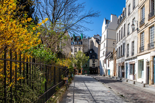 Paris, France - April 1, 2020: 16th day of containment because of Covid-19 in a street of Quartier Latin