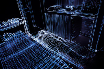 Light Painting the Outline of a Person laying on the floor indoors with Long Exposure Photography. Wall mural