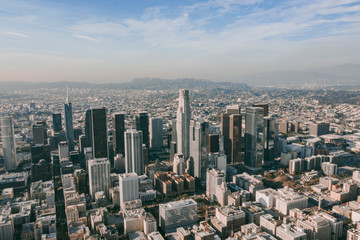 Aerial Drone View of Los Angeles Downtown on beautiful Sunny Day Fototapete