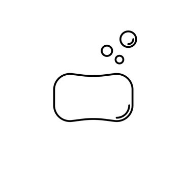 Soap vector icon. Cute soap bar with bubbles isolated on white background. Virus protection. Minimalist line art