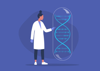 DNA code, biotech startup, scientific big data, young female researcher working in a lab