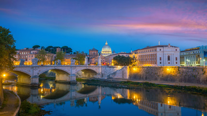 Wall Mural - St Peter Cathedral in Rome, Italy at sunset