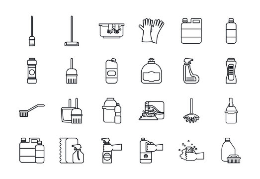 Cleaning service line style icon set vector design
