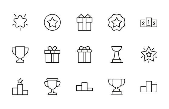 reward line icons set.