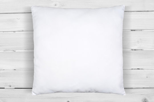Square White Pillow Mockup on Weathered White Wood Background