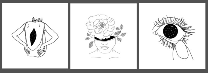 surreal set of cards with line portrait woman