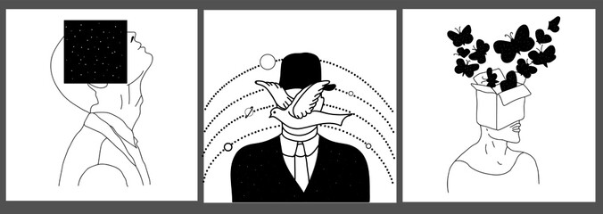 surreal set of cards with line portrait man