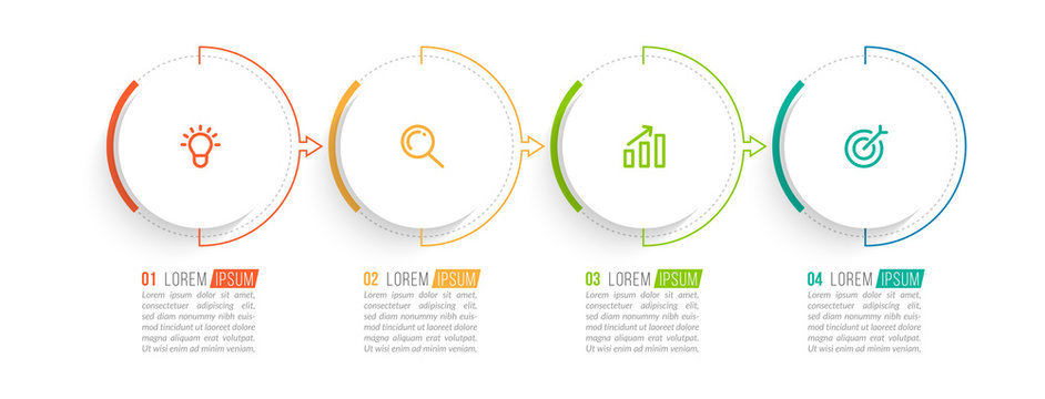 Minimal Business Infographics template. Timeline with 4 steps, options and marketing icons .Vector linear infographic with four conected elements. Can be use for presentation.