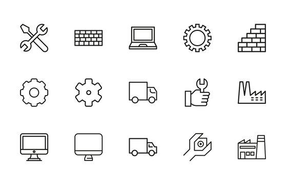 production line icons set.