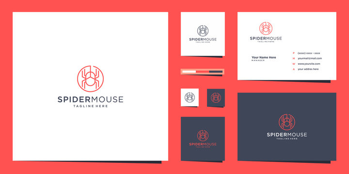 Inspiring spider logo and minimalist outline symbol, Premium vector