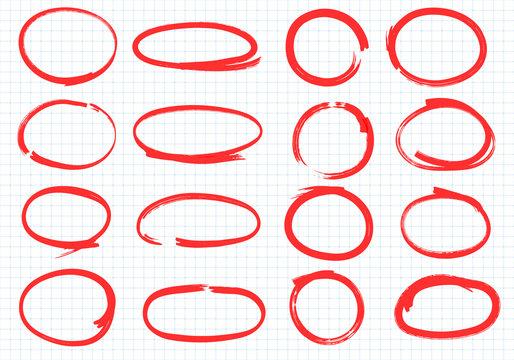 Hand drawn oval marker highlighter. Set of vector frames.
