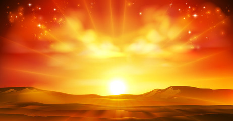 Spoed Fotobehang Wanddecoratie met eigen foto Sky sun sunrise sunset background landscape illustration