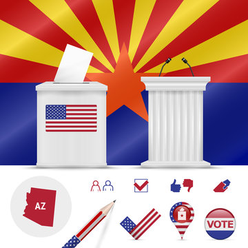 Presidential elections in Arizona. Vector flag, ballot box, speaker's podium, map and voting icon set
