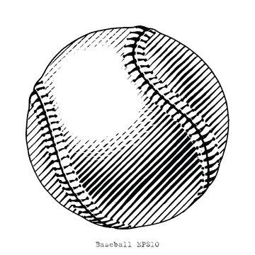Baseball hand draw vinatge style black and white clip art isolated on white background