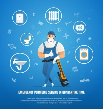 Emergency Plumbing Service in Quarantine Time. Handsome Company Plumber Service with Wrench. Vector Illustration of Cartoon Character Make Maintenance Boiler PipeLine and Central Heating System