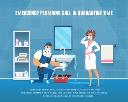 Vector Emergency Plumbing Call im Quarantine Time. Company Plumber Repair Pipe Leak under Washstand in Bathroom. Vector Cartoon Character with Wrench Clean Service of Pipeline.