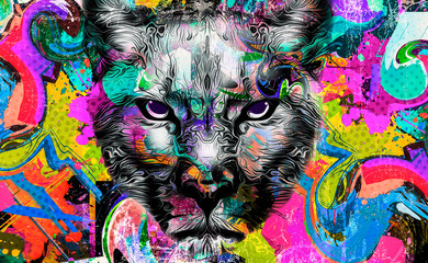 leopard head with creative abstract element on background