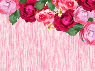 Fototapete - Beautiful floral background of begonias and roses. Isolated