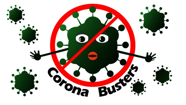 busted coronavirus / COVID-19 virus. Inspired by Ghostbusters Logo