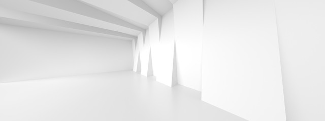 Fotobehang - Futuristic Room Design. White Wall Wallpaper. Minimalistic Abstract Architecture Background