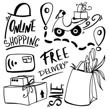 Lettering words online shopping, free delivery, box, food package, bike delivery cute outline doodle digital art. Print for stickers, cards, stationery, sites, banners, scrapbooking