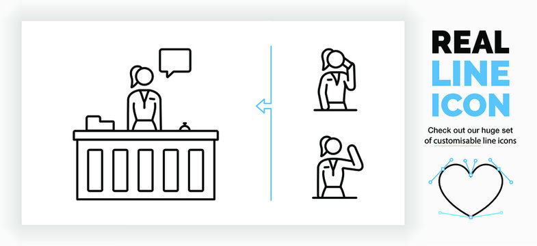 Editable real line icon of a standing stick figure receptionist working at the reception to help a customer and talk with a speech bubble and two symbols of the woman talking on the phone and waving