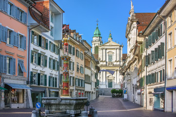 Fototapete - Street in Solothurn, Switzerland