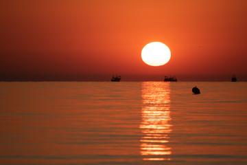 Beautiful sunrise from the Riccione coast.