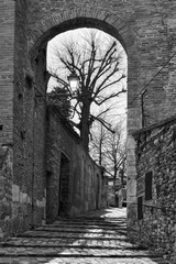 Wall Mural - Gate and medieval street in Santarcangelo di Romagna